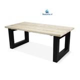 Steigerhouten tafel met metalen U onderstel