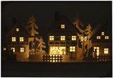 Houten kerstdorp met LED lampjes_