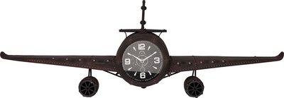 Retro wandklok vliegtuig metaal - zwart - 143x20x46 cm