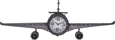 Retro wandklok vliegtuig metaal - grijs - 143x20x46 cm