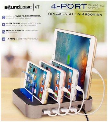 Oplaadstation voor 4 apparaten - 4 USB poorten