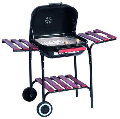 Verrijdbare stalen barbecue met zijtafels