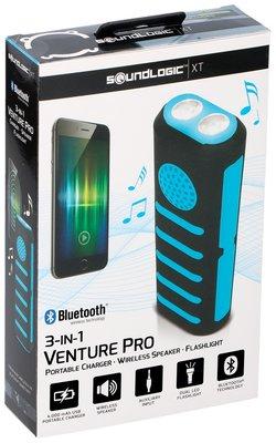 Powerbank met zaklamp en speaker blauw