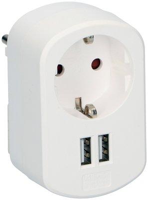Grundig Stopcontact splitter met twee USB poorten