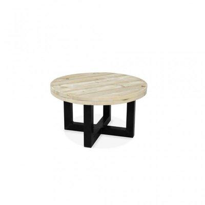 Steigerhouten salontafel rond met metalen onderstel