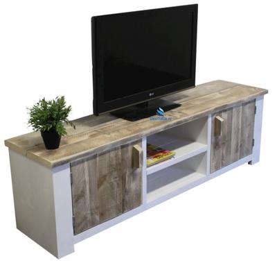 Steigerhouten tv-meubel Cayenne - steigerhout met witte omlijsting
