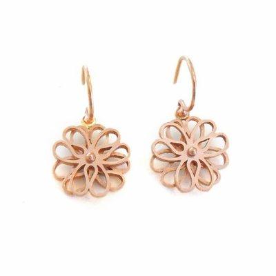 14 karaat rood gouden oorhangers, dubbele bloem