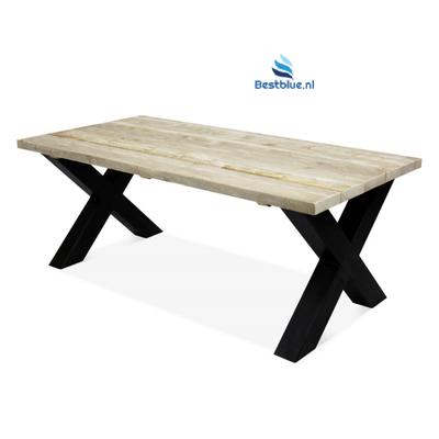 Steigerhout tafel met metalen X onderstel