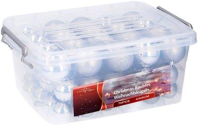 Kerstballen in box - 70 plastic ballen - zilver
