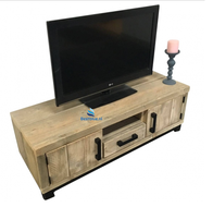 Steigerhouten tv-meubel Arthur met zwarte handgrepen