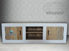 Tv-meubel Landelijk 1, brede witte omlijsting