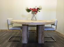 Steigerhouten tafel rond - met blokpoten - diverse maten